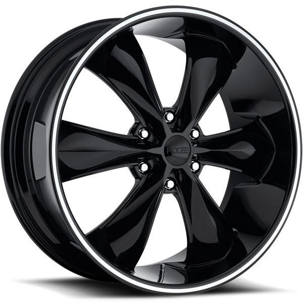 Foose Legend 6 F137 Gloss Black with Machined Stripe