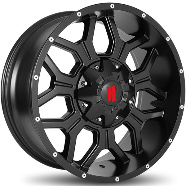 Havok Off-Road H106 Matte Black with Milled Rivets