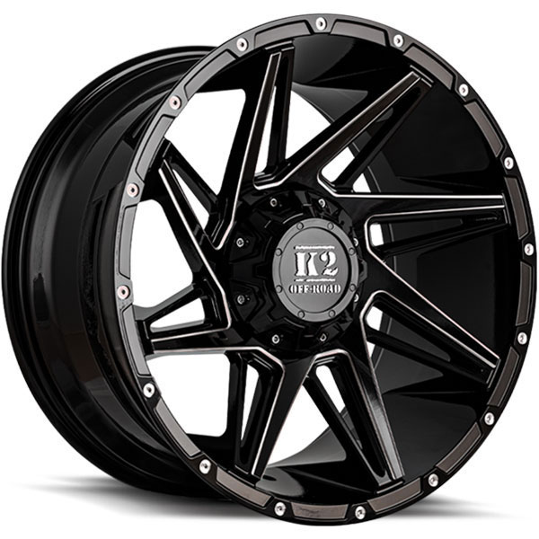 K2 OffRoad K09 Torque Gloss Black with Milled Spokes