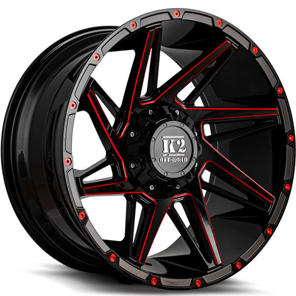 K2 OffRoad K09 Torque Gloss Black with Red Milled Spokes