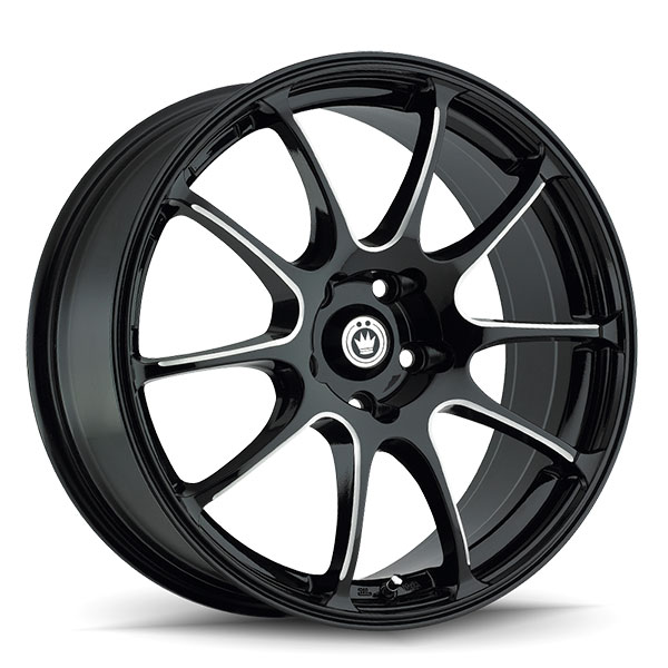 Konig Illusion Gloss Black with Ball Cut Machined Spokes