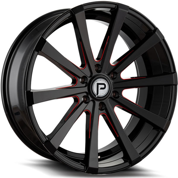Pinnacle P100 Royalty Gloss Black with Red Milled Spokes