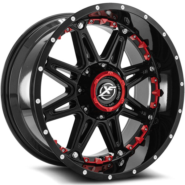 XF Off-Road XF-217 Gloss Black with Red Inserts